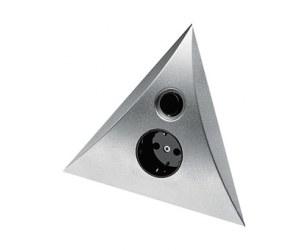 Gniazdko podszafkowe narożne HERA Luxor ST/SF/B PL z włącznikiem do oświetlenia w kolorze aluminium