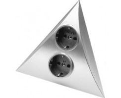 Gniazdko podszafkowe narożne HERA Luxor 2ST F/B PL  kolor aluminium